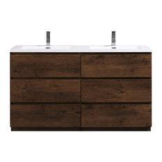 "BATHROOM VANITIES WHOLESALE - Moa Double Sink Bathroom Vanity With 6 Drawers, Rosewood, 60"" - Bathroom Vanities and Sink Consoles"