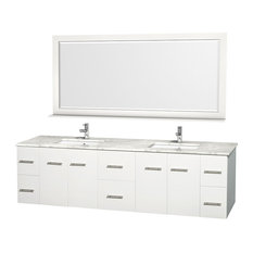"Centra 80"" White Double Vanity, White Carrera Marble Top, Undermount Square Sink"