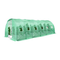 Greenhouse, Large Walk Tunnel Design With Roll Up Entrance and Windows