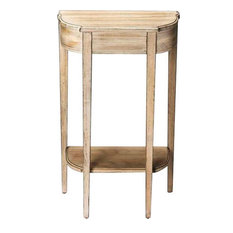 Console Table Tapered Slender Legs Driftwood Distressed Wood Bir