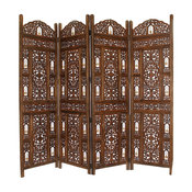 Handcrafted Wooden 4 Panel Room Divider Screen With Tiny Bells -Reversible