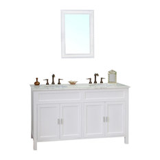 "60"" Double Sink Vanity, Wood, White"