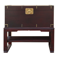 Asian Brown Stain Oriental Style Trunk Storage Chest Table Hws467