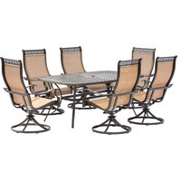 Manor 7-Piece Outdoor Dining Set, 6 Swivel Rockers, Large Cast-top Dining Table