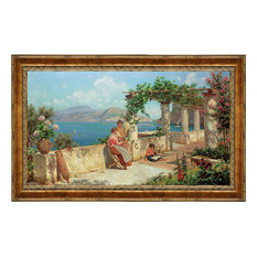 """Figures on a Terrace in Capri"" Stretched Canvas Replica, 25.5""x18.5"""