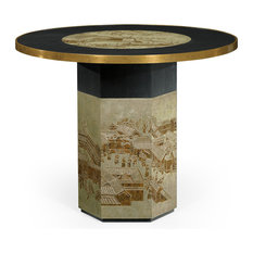 Round Chinoiserie Style Antique Etched Brass and Ebonised Oak Centre Table