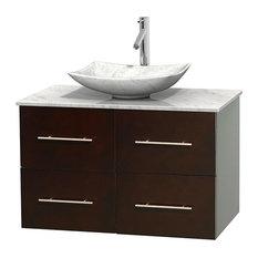 "Centra 36"" Espresso Single Vanity, White Carrera Marble Top, Carrera Marble Sink"