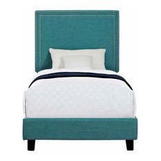 Picket House Furnishings Emery Upholstered Platform Bed, Teal, Twin