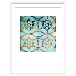"""""""Lost In Another Maze"""" Geometric Art Print, White Framed, 50x70 cm"""