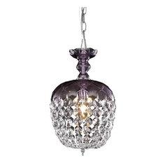 Elegant Lighting Rococo 1-Light Pendant, Purple/Clear