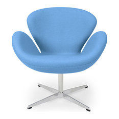 Kardiel Trumpeter Chair, Baby Blue Boucle Cashmere Wool