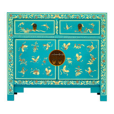 Oriental Sideboard With Cupboard and Drawers, Blue/Gold