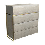 Federico 4-Drawer Chest, Weathered Oak, Brass Accent