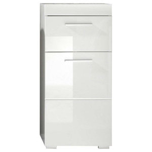 Side Cabinet, White MDF With 1-Drawer, Door and Fix Shelf, Contemporary Style