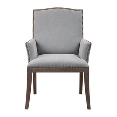 Midcentury Modern Gray Nailhead Trip Accent Chair, Arm Cotton Exposed Wood