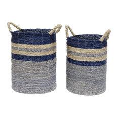 Palecek Bayshore Coastal Beach Seagrass Striped Blue Ocean Baskets - Set of 2
