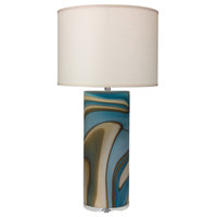 Terrene Table Lamp, Large, Gray Swirl Glass With Large Drum Shade