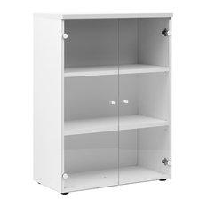 Xerus Glass Door Storage Unit, White