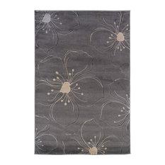 "Linon Rugs Milan Rectangular Area Rug, Gray and Ivory, 8'x10'3"""
