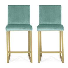 GDF Studio Lexi Modern Glam Velvet Barstools, Set of 2, Turquoise
