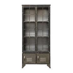 Distressed Black Metal Cabinet With 4 Doors