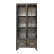 Creative Co-Op - Distressed Black Metal Cabinet With 4 Doors - Kitchen Cabinetry