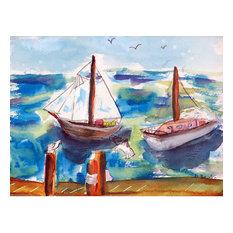 Betsy Drake Two Sailboats 30 X 50 Inch Comfort Floor Mat