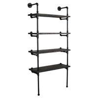 "Sacramento Industrial Chic  33"" Wide  4-Tier Etagere Bookcase, Black Steel Combo"