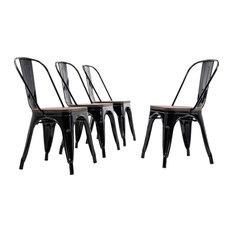 Wood Seat Metal Bar Stool Chairs, Set of 4 , Black