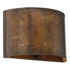 Kettle 1 Light Bathroom Vanity Light in Weathered Brass