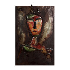 """""""Homme 3"""" Primo Mixed Media Hand Painted 3D Metal Wall Art"""