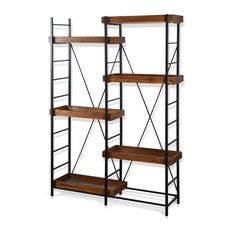 Tri Bookcase, Black Metal Finish With Mahogany Wood