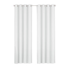 "Luxor Grommet Cotton Room Darkening Solid Panels, White, 108""x84"", Set of 2"