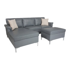 Plush Pillow Back Sectional with Left Side Facing Chaise and Ottoman Set
