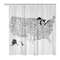 Hand Lettered Black and White US Map Shower Curtain
