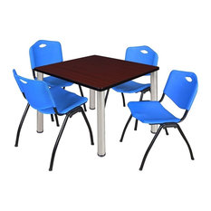"""Kee 42"""" Square Breakroom Table, Mahogany, Chrome and 4 'M' Stack Chairs, Blue"""
