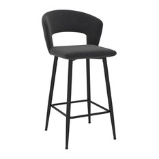 Set Of 2 Velvet Fabric 26-inch Counter Stool Charcoal