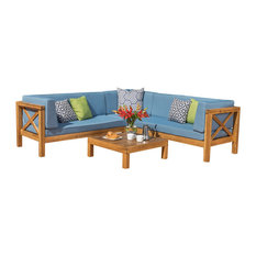 4-Piece Brava Patio Wooden Sectional, Water Resistant Cushions, Set, Blue