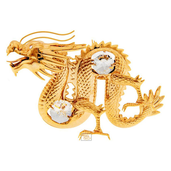 Dragon Animal Figurine 24k Gold Plated with Swarovski Crystals