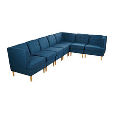 GDF Studio 7-Piece Milltown Fabric Sectional Sofa Set, Navy Blue