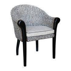 Banana Leaf Paris Woven Club Chair with Mahogany Legs