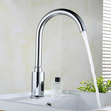 silver brass automatic sensor chrome finish bathroom sink faucet at faucetsdeal bathroom sink faucets - Sink Faucets