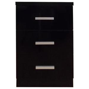 Torino 3-Drawer Bedside Table, Black and Black Oak