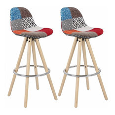 Set of 2 Bar Stools, Synthetic Leather, Wooden Legs and Steel Footrest, Multicol