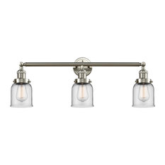 """Small Bell 3-Light 30"""" Bath Fixture, Brushed Satin Nickel, Glass: Clear"""