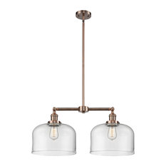 Large Bell 2-Light LED Chandelier, Antique Copper, Glass: Clear