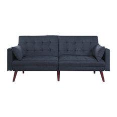 Divano Roma Furniture   Modern Tufted Linen Splitback Recliner Sleeper  Futon Sofa, Midnight Blue