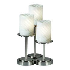 Justice Design Dakota 3-Light Table Lamp, Weave Glass, Brushed Nickel
