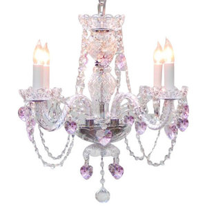 Crystal Chandelier With Pink Crystal Hearts