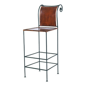 Leather and Iron Bar Stool, Sienna Brown/Burnished Iron